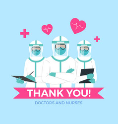 Thank you to doctors and nurses vector