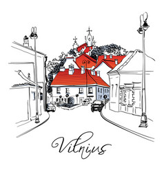 typical street in old town vilnius lithuania vector image