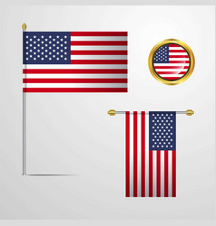 united states of america waving flag design with vector image