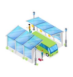 Urban bus stop isometric 3d icon vector