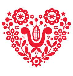Valentines day folk art retro floral heart vector