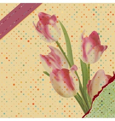 Vintage tulips with polka dot EPS 10 vector image vector image