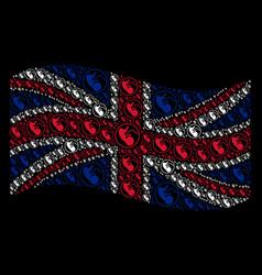 Waving great britain flag mosaic of prenatal icons vector