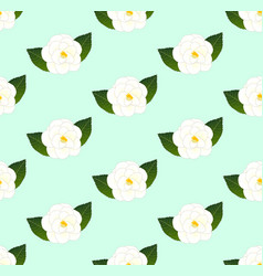 White camellia flower seamless on green mint vector