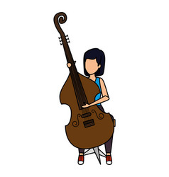 Woman playing cello character vector