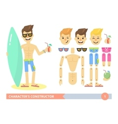 Characters constructor young fit man on the beach vector image vector image