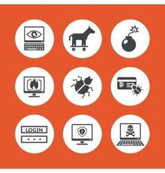 Computer Threats Icons vector image