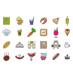 Diner colorful icons set vector