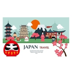 Japan landmark travel poster vector image vector image