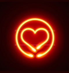 neon heart signboard on the red background vector image vector image