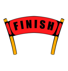 red ribbon in finishing line icon icon cartoon vector image vector image
