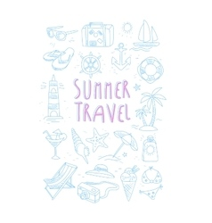 Summer Travel Related Object Set With Text vector image