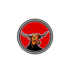 Texas Longhorn Red Bull Circle Retro vector image vector image