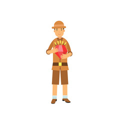 young archaeologist character standing with red vector image vector image