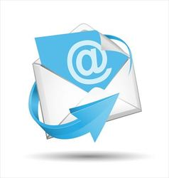E-mail envelope with blue arrow vector image vector image