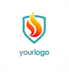 fire shield logo vector image