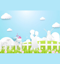 Happy couple in love in a field countryside vector