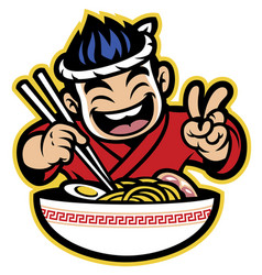 japanese cartoon chef eating the ramen vector image