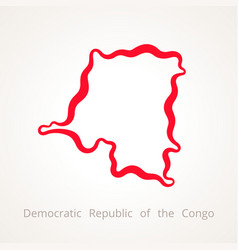 outline map of democratic republic of the congo vector image vector image