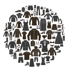 Set of Women s and Mens Clothing icons vector image