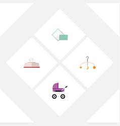 flat icon child set of tissue napkin stroller vector image vector image