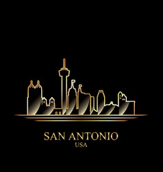 gold silhouette of san antonio on black background vector image vector image