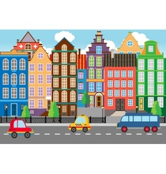 Seamless Cartooned City Life Graphic vector image vector image