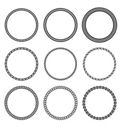 set of round rope frame collection vector image vector image