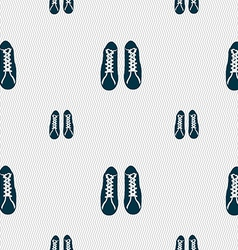 shoes icon sign Seamless pattern with geometric vector image vector image