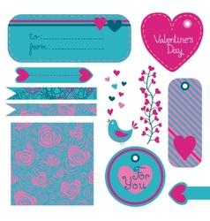 Valentines Day set of design elements vector image
