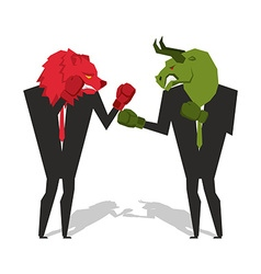 Bear and bull are boxing Traders fight Businessmen vector image