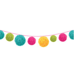 Colorful happy birthday party pom poms set vector