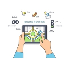 Human hand holds a tablet pc and finds guide on vector image vector image