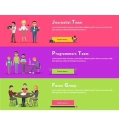 Journalists team programmers geek focus group vector