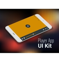 Media player mobile app UI smartphone mockup vector image