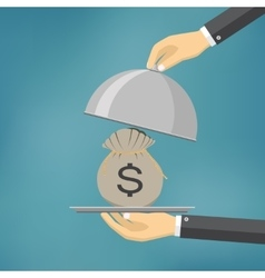 The businessman offering money on the serve plate vector image vector image