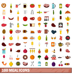 100 meal icons set flat style vector image