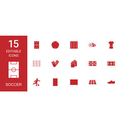 15 soccer icons vector image