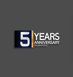 5 years anniversary logotype with blue and silver vector