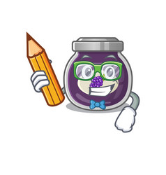 A picture student grape jam character holding vector