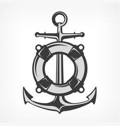 Anchor with lifebuoy vector