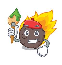artist meteorite character cartoon style vector image