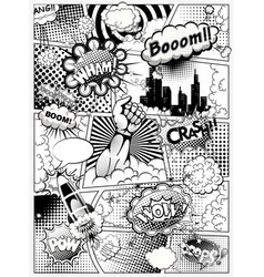 Black and white comic book page vector