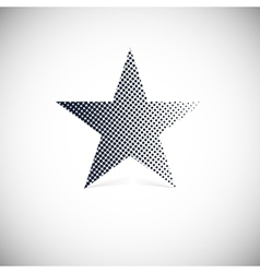 Black halftone star with shadow vector image