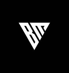Bm logo letter monogram with triangle shape vector