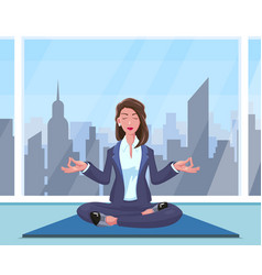 businesswoman practices yoga vector image