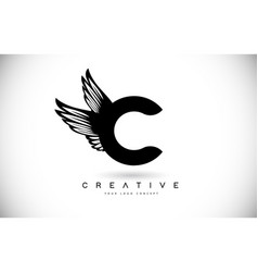 c letter logo with wings creative wing letter c vector image