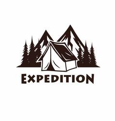 camping campfire mountain vintage logo vector image