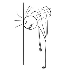 Cartoon frustrated man or businessman hitting vector