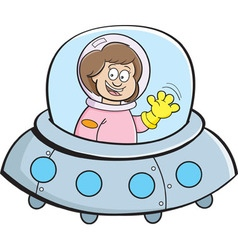 Cartoon girl in a spaceship vector image